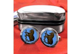 Warwickshire County Cricket Mens Cufflinks with Chrome Gift Box