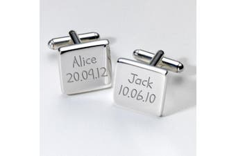 Engraved Childrens Names & Birthday Cufflinks - Square