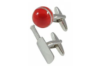 Collar and Cuffs London - Sporty Cricket Bat and Ball Cufflinks - High Quality Brass - Silver and Red Colour - Presentation Gift Box Included