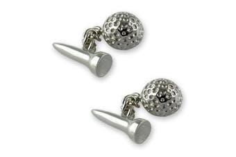 Sterling silver golf ball & tee cufflinks