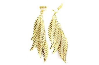 Leaf Multi Chandelier Cushioned CLIP ON Womens Fashion Earrings clipon