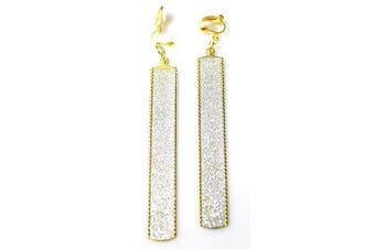 Hip Hop Gold and Sparkly Silver Long Plate Fashion Earrings Ð Clip-on