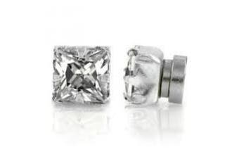 9mm CZ Cubic Zirconia Stone Magnetic Sqaure Fashion Earrings Jewellery