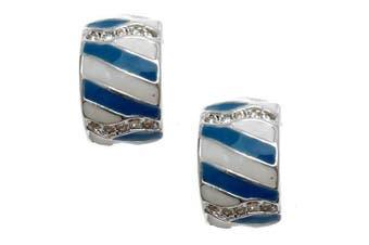 Acosta - Blue & White Enamel Stripe - Fashion Jewellery Clip On Earrings
