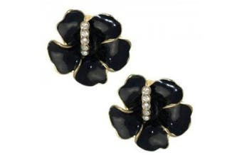 AMANDINE Gold Black Crystal Clip On Earrings
