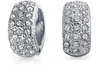 (rhodium-plated-brass) - Bling Jewellery Pave Crystal Magnetic Huggie Hoop Clip On Earrings Silver Tone