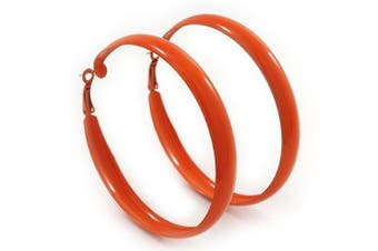 Large Orange Enamel Hoop Earrings - 6cm Diameter