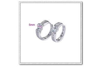 Klaritta . Elegant Small White Gold Plated Hoops Crystal Elements Earrings E184
