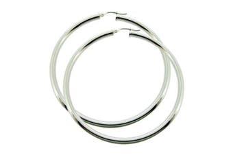 0.925 Sterling Silver 2mm Plain 64mm Hoop Earrings