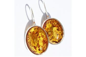 Large Oval Baltic Honey Amber Silver Earrings,925 sterling silver, + gorgeous gift box