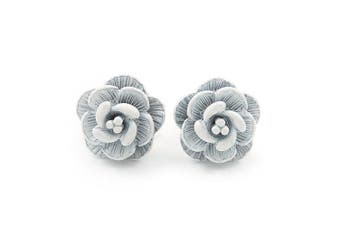 Tiny White 'Rose' Stud Earrings In Silver Tone Metal - 10mm Diameter