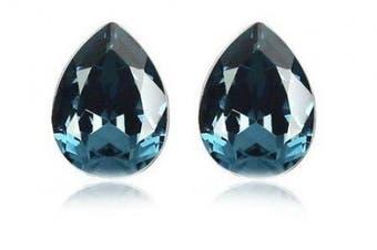 Klaritta Crystal Blue Teardrop Egg Shaped Crystal Stud Earrings E70B