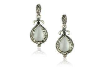 Klaritta Vintage Classic Style White Opal Imitation Drop Earrings Studs E275