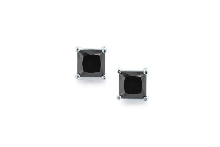 (8.0 Millimeters) - Bling Jewellery Unisex Mens Black CZ Sterling Silver Basket Set Square Princess Cut Stud Earrings (3ct 8mm)