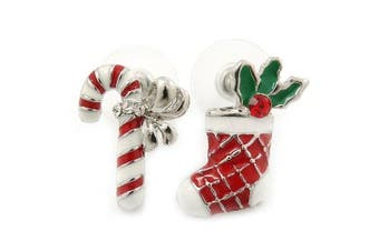 White/ Red/ Green Enamel 'Candy Cane & Christmas Stocking' In Rhodium Plating - 20mm Length