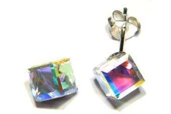 A/B Crystal Cube 6mm Earring - Genuine 925 Sterling Silver. Add a little sparkle to your life!