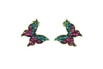 Blue and Pink on Antique Gold Butterfly Stud Earrings