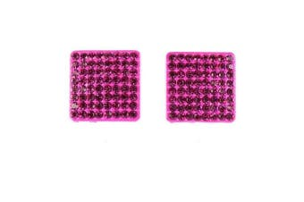 Pink Flat Square Retro Bling Studs
