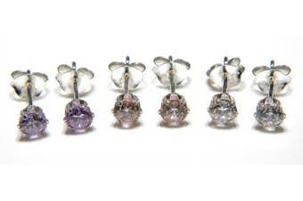 Silver Stud Earring Set with 4mm CZ in White Pink and Lavender - Genuine 925 Sterling Silver and Cubic Zirconia. Add a little sparkle to your life!