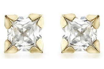 Carissima Gold Women's 9 ct Yellow Gold Four Claw Square CZ Stud Earrings