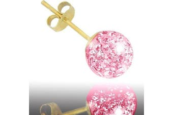 Jewelco London 9ct Gold Pink tinted sparkling Crystal set 6mm Disco Ball Studs