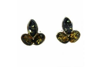 Green Baltic Amber Silver Studs - LEAFS, 925 sterling silver, + gorgeous gift box