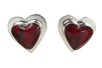 Sterling Silver Formed Red Jasper Heart Earrings