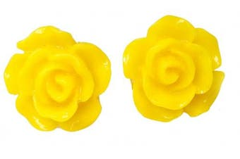 12mm Rose Fashion Earrings Yellow Stud Kids Childrens Girls