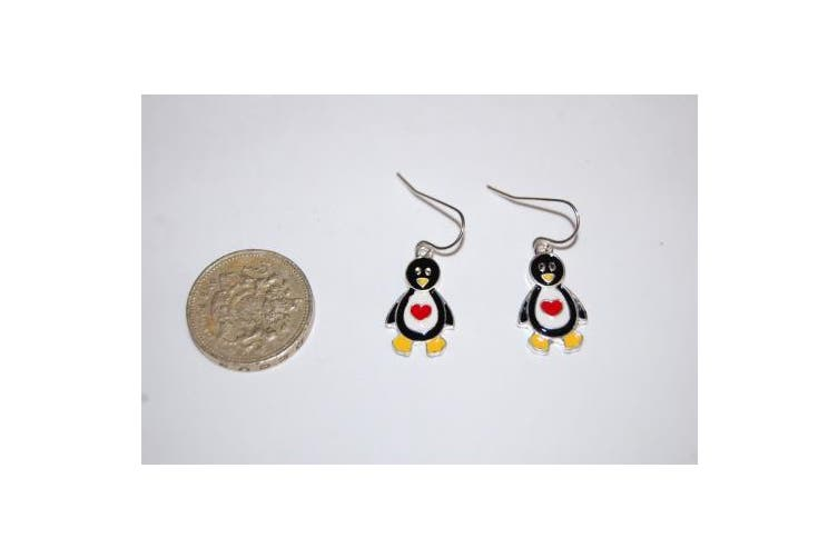 Penguin with Heart Drop Hook Earrings Very Cute and Adorable (Supplied in a Gift Pouch) Unique Jewellery