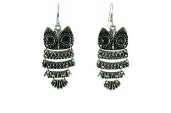 Black on Antique Silver Vintage Style Owl Drop Earrings