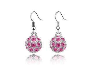 Klaritta Shamballa Style Pink Crystal Disco Ball Drop Dangling Earrings E110P