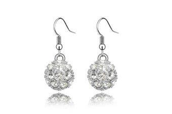 Klaritta Shamballa Style White Crystal Disco Ball Drop Dangling Earrings E110W