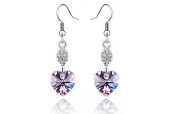 Klaritta Austrian Crystal Light Violet Heart Shaped Rhinestone Drop Dangle Earrings E265