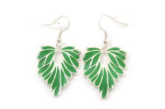Rhodium Plated Green Enamel 'Leaf' Drop Earrings - 45mm Length