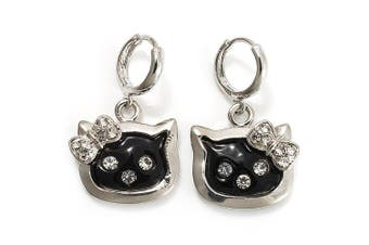 Cute Black Enamel Kitten Drop Earrings (Silver Tone)