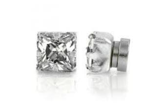 8mm Mens Ladies Sqaure Crystal Stone Magnetic Fashion Stud Earrings Jewellery (No Piercing Required)