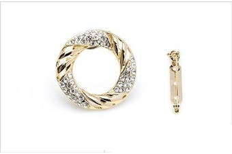 Amazing Gold Tone Rhinestones Circle Silk Scarf Buckle & Brooch Pin BR74