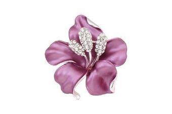 Purple with White Rhinestones Diamante Elegant Corsage Flower Brooch Pin BR166