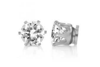 8mm Mens Ladies Round Crystal Stone Magnetic Fashion Stud Earrings Jewellery (No Piercing Required)