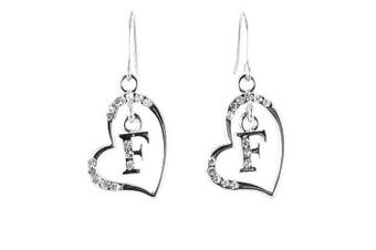 Clear Crystal on Silver Plated Initial Earrings - F