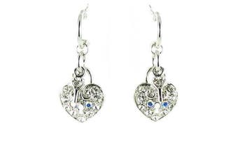 Clear Crystal on Silver Plated Key and Heart Earrings