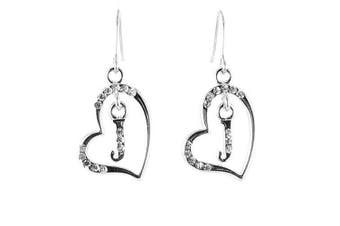 Clear Crystal on Silver Plated Initial Earrings - J