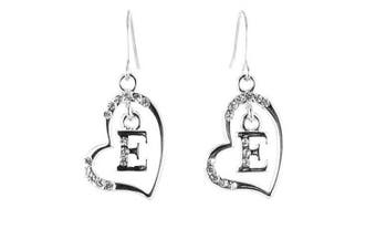 Clear Crystal on Silver Plated Initial Earrings - E