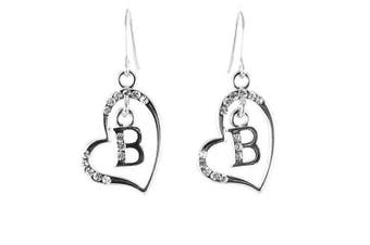 Clear Crystal on Silver Plated Initial Earrings - B