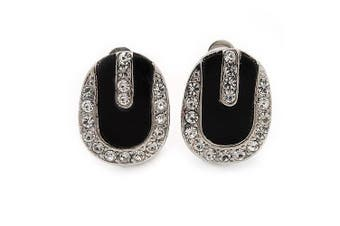 Oval Black Enamel Diamante Clip On Earrings In Silver Tone Metal - 15mm Length