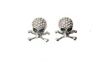 Silver Crystal Diamante Skull Crossbones Earrings Fancy Dress Party Pirate Gift Jewellery