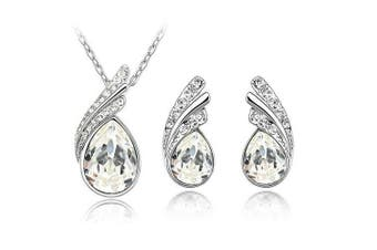 Bridal Jewellery Set White Crystal Wings Studs Earrings & Necklace S226