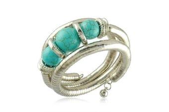 Turquoise Blue Three Balls Three Levels Silver Wire Bangle Bracelet BB58