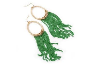 Gold Plated Hoop Earrings With Green Chains - 12cm Length