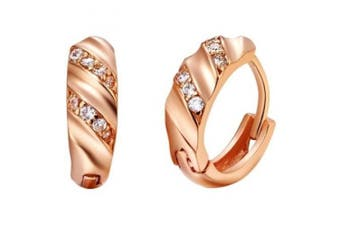 findout rose gold plated 925 sterling silver lines earrings. (f560)
